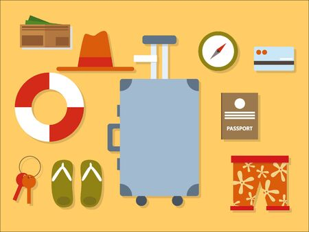 Simple 3D Illustration of a Set of Summer Gadgets Vectores