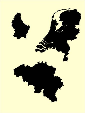 Set of Black Flat Silhouette Maps of Benelux Countries on Beige Background