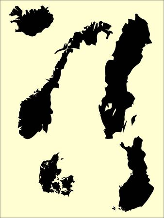 Set of Black Flat Silhouette Maps of Scandinavian Countries on Beige Background