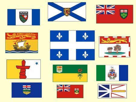 Set of Flags of Territories and Provinces of Canada Illustration