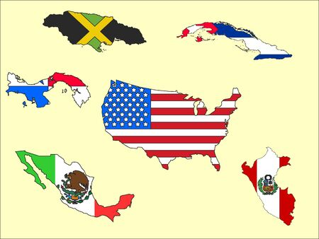 Set of Map and Flags of Countries of the Americas on Beige Background Ilustração