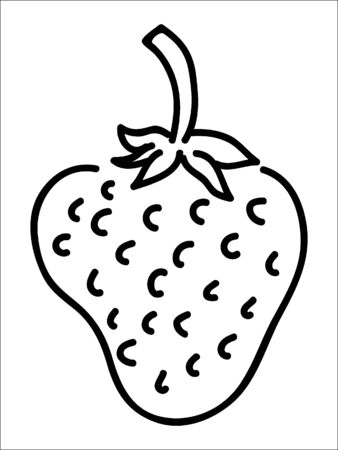 Simplified Black and White Outline Silhouette of a Strawberry Illusztráció