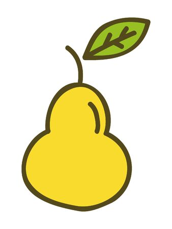 Simplified Silhouette of a Yellow Pear