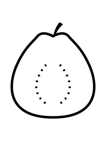 Simplified Black and White Silhouette of Half of an Apple Illusztráció