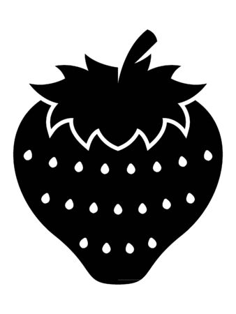 Simplified Black and White Silhouette of a Strawberry Illusztráció