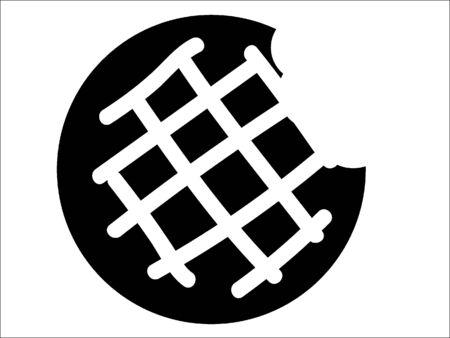 Simplified Black and White Silhouette of a Doughnut Bite Illusztráció
