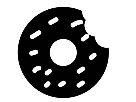 Simplified Black and White Silhouette of a Doughnut Bite Çizim