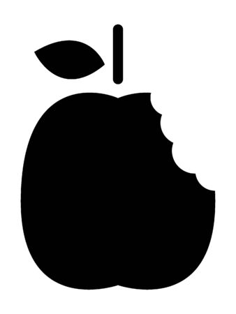 Simplified Black and White Silhouette of an Apple Bite