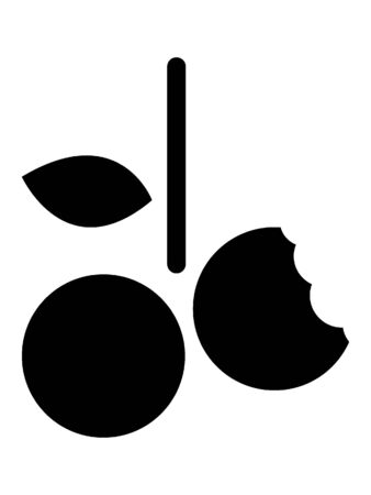Simplified Black and White Silhouette of a Cherry Bite
