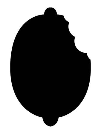 Simplified Black and White Silhouette of a Lemon Bite Illusztráció
