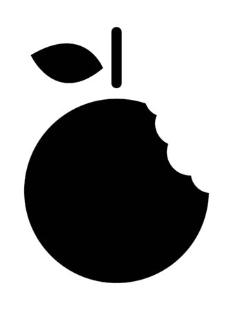 Simplified Black and White Silhouette of a Grapefruit Bite Çizim