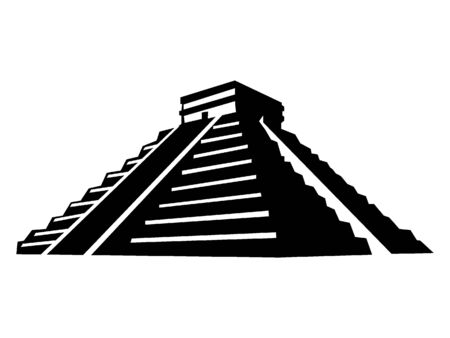 Simplified Black and White Silhouette of the Mesoamerican Pyramid 向量圖像