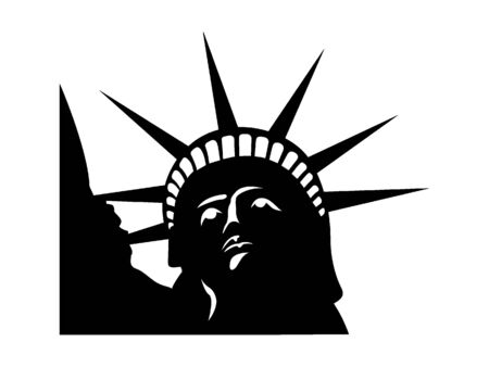 Simplified Black and White Silhouette of the Statue of Liberty, New York City, New York
