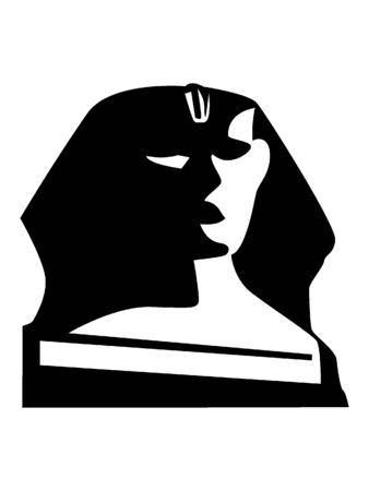 Simplified Black and White Silhouette of the Great Sphinx of Giza, Egypt 向量圖像