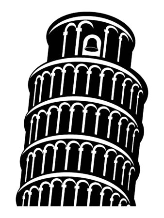 Black and White Silhouette of the Leaning Tower of Pisa, Italz Illusztráció
