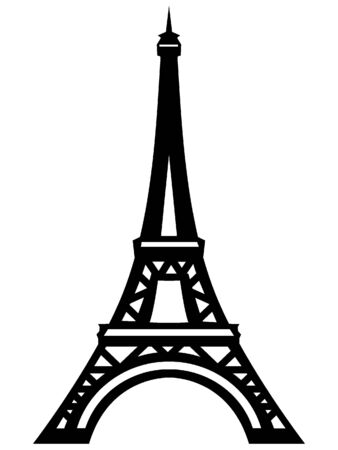 Black and White Silhouette of the Eiffel Tower, Paris, France