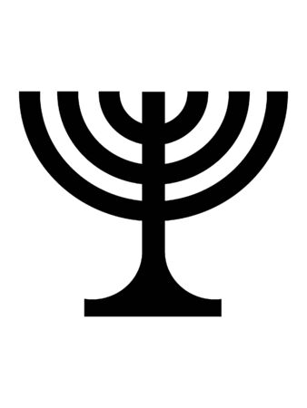 Black and White Silhouette of a Menorah