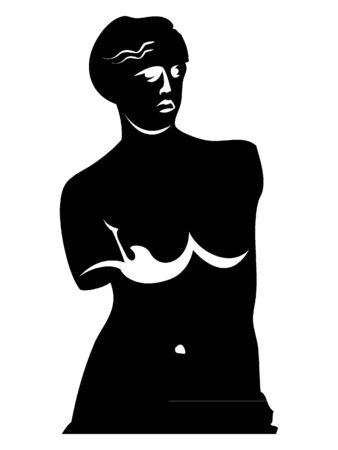 Black and White Silhouette of Venus de Milo