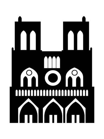 Black and White Silhouette of a Notre-Dame de Paris, France