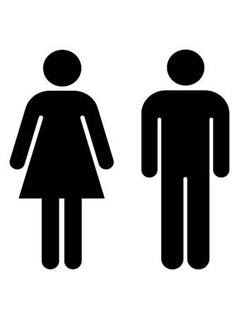 Schwarz-Weiß-Silhouette eines Toilettensymbols