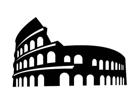 Black and White Silhouette of the Colosseum of Rome, Italy