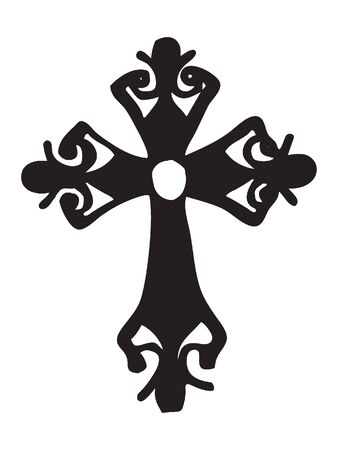 Black and White Silhouette of a Traditional Christian Cross Vectores