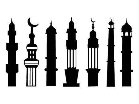 Black and White Silhouette of a Traditional Muslim Minarets Set
