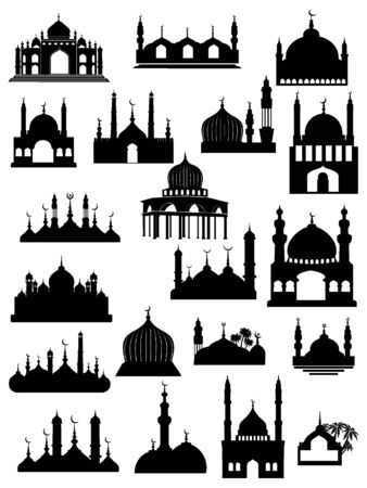 Black and White Silhouette of a Traditional Muslim Mosque and City Skylines Set