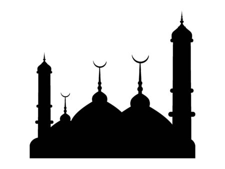Black and White Silhouette of a Traditional Muslim City Skyline