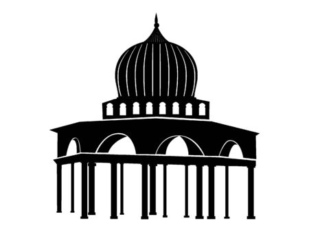 Black and White Silhouette of a Traditional Muslim Mosque