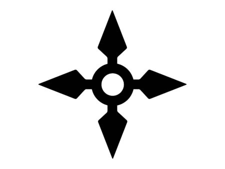 Black and White Silhouette of a Traditional Japanese Shuriken