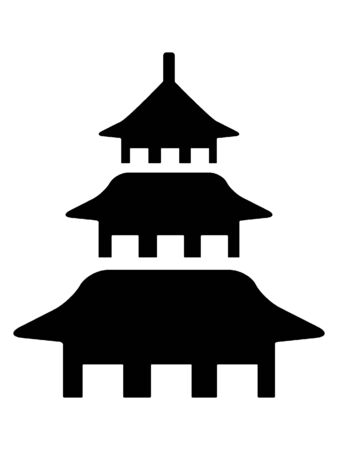 Black and White Silhouette of a Traditional Japanese Temple Architecture
