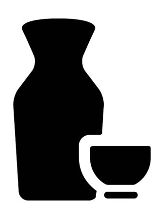 Black and White Silhouette of a Traditional Japanese Sake Drink