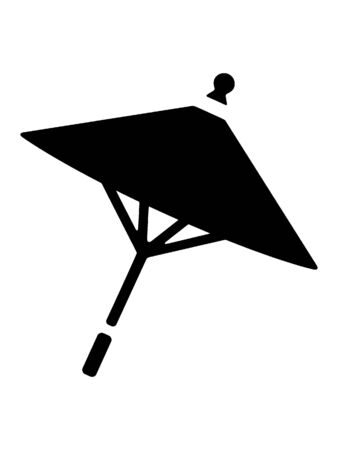 Black and White Silhouette of a Traditional Japanese Parasol Sunshade 向量圖像
