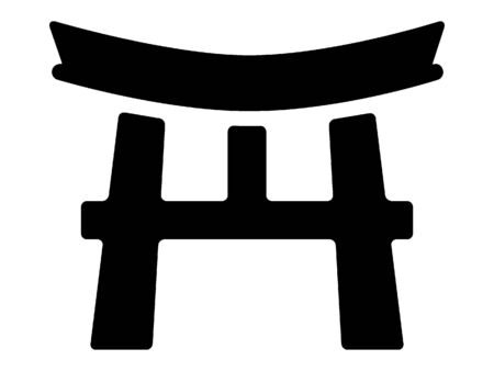 Black and White Silhouette of a Traditional Japanese Temple Architecture Detail