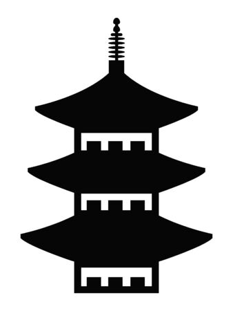 Black and White Silhouette of a Traditional Japanese Temple Architecture Reklamní fotografie - 134977722