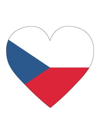 Heart Shaped Flag of Czechia Vectores