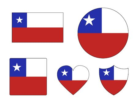 Set of Various Shapes of the Flag of Chile