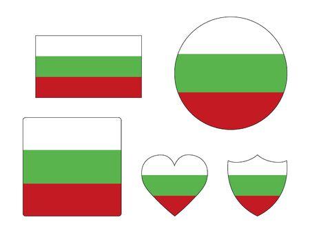Set of Various Shapes of the Flag of Bulgaria Vektoros illusztráció