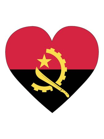 Heart Shaped Flag of Angola