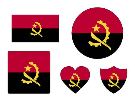 Set of Various Shapes of the Flag of Angola