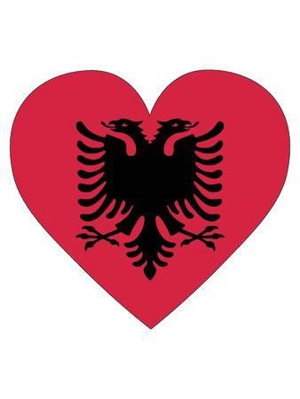 Heart Shaped Flag of Albania Vektorové ilustrace