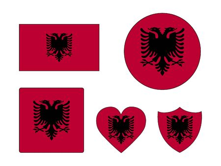 Set of Various Shapes of the Flag of Albania