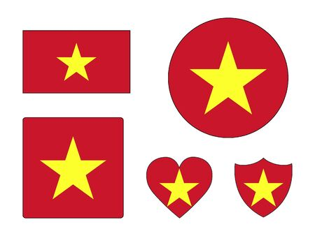 Set of Various Shapes of the Flag of Vietnam