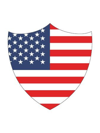Shield Shaped Flag of United States of America