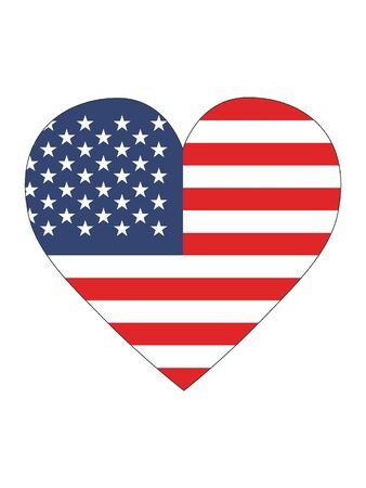 Heart Shaped Flag of United States of America