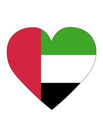 Heart Shaped Flag of United Arab Emirates