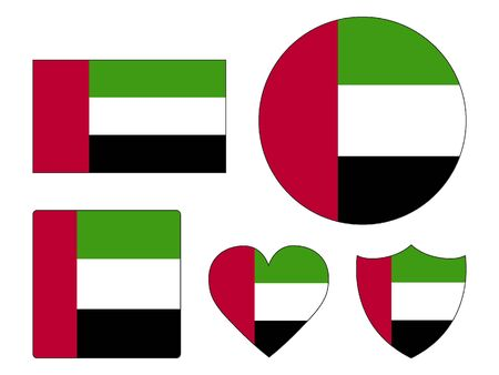 Set of Various Shapes of the Flag of United Arab Emirates