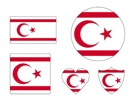 Set of Various Shapes of the Flag of Northern Cyprus
