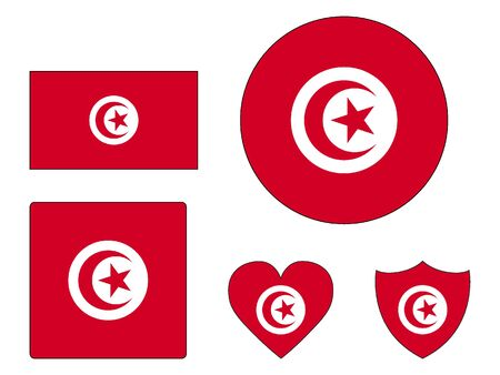 Set of Various Shapes of the Flag of Tunisia
